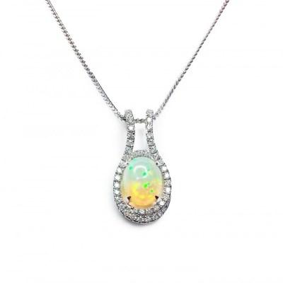 Opal & Diamonds Pendant in 18ct White Gold