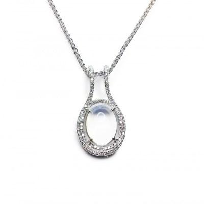 Moonstone & Diamonds Pendant in 18ct White Gold
