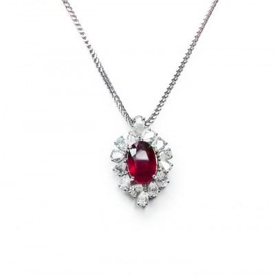 Ruby & Diamond Pendant in 18ct White Gold