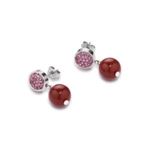 Coeur De Lion Earrings - Crystals, Pave, Agate & Onyx Orange-rose