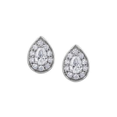 9ct White Gold Pear Shaped Diamond Earring