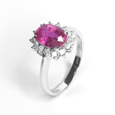 18ct White Gold Pink Burmese Ruby & Diamond Ring
