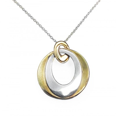 9ct Yellow & Gold Circular Pendant