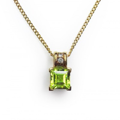 Peridot & Diamond Square Pendant in 9ct Yellow Gold