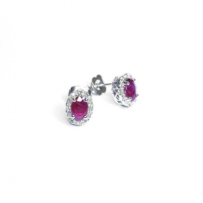 14ct White Gold Ruby & Diamond Earrings