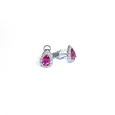 18ct White Gold Pink Tourmaline & Diamond Earrings