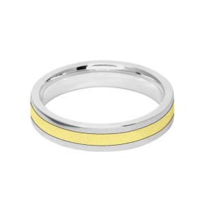 Image of 4mm 9ct two colour gold court shape wedding ring band