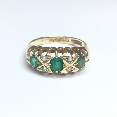 Second Hand Emerald & Diamond '1905' Ring in 18ct Yellow Gold