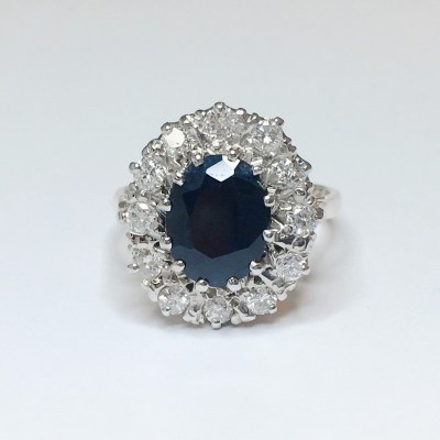 Second Hand Sapphire & Diamond Ring in 9ct Gold