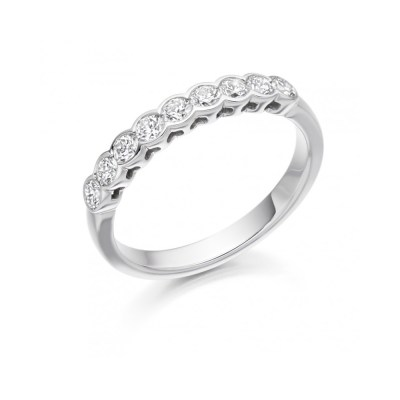 Rub Over Set Diamond Wedding Ring, 0.50ct