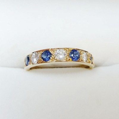 Second Hand Sapphire & Diamond Eternity Ring in 18ct Yellow Gold