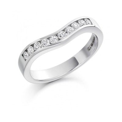 Curved Diamond Wedding Ring, 0.33ct