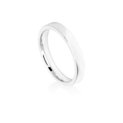 3mm White Gold Flat Court Wedding Ring Band