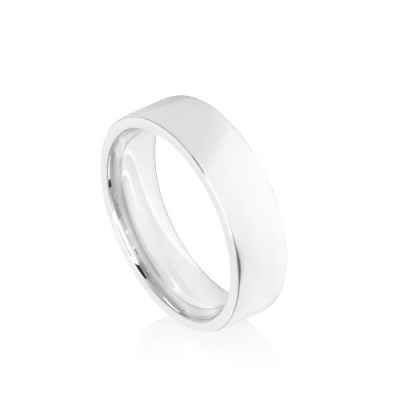 6mm White Gold Flat Court Wedding Ring Band