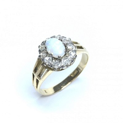 Second Hand Opal & Diamond Cluster Ring in 18ct Yellow Gold
