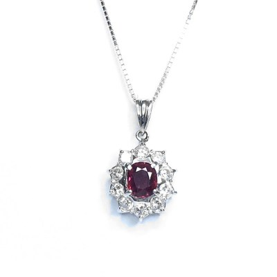 Second Hand Ruby & Diamond Pendant in Platinum