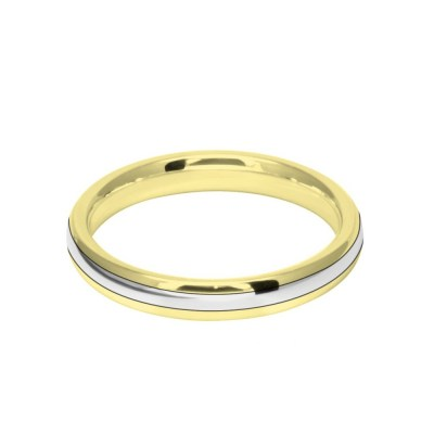 3mm 9ct Two Colour Gold Court Shape Wedding Ring Band