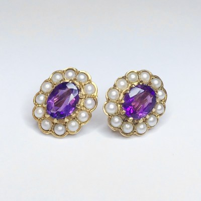 Second Hand Amethyst & Pearl Screw Back Earrings