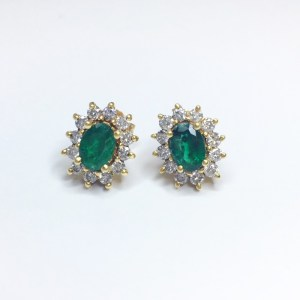 Image of second hand emerald & diamond earrings