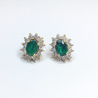Second Hand Emerald & Diamond Earrings