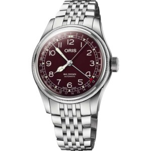 An image of a mens ORIS BIG CROWN POINTER DATE RED watch front facing