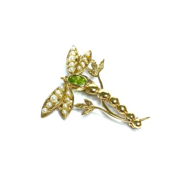 Second Hand 9ct Yellow Gold Peridot & Pearl Brooch