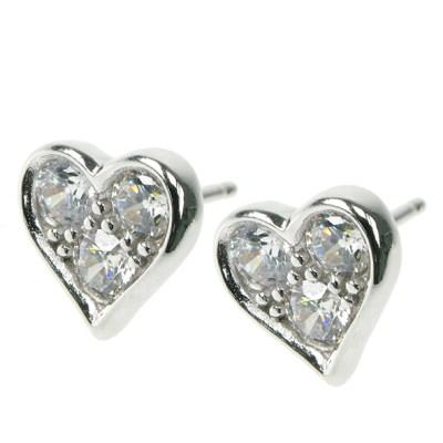 Silver Heart With Cz Stud Earrings