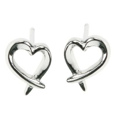 Silver Hug Heart Earrings