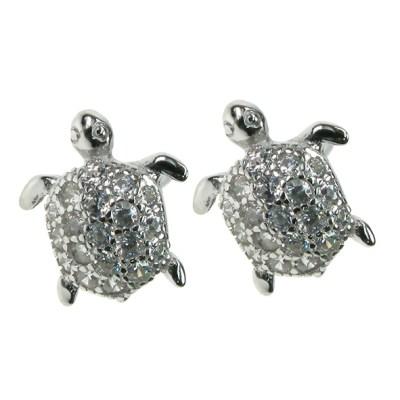 Silver Cz Turtle Earrings