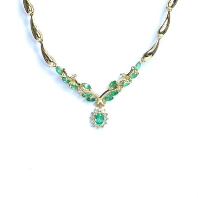Second Hand 18ct Yellow Gold Emerald & Diamond Necklace