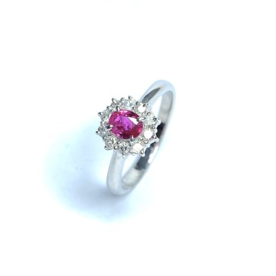 Second Hand Platinum Ruby & Diamond Ring