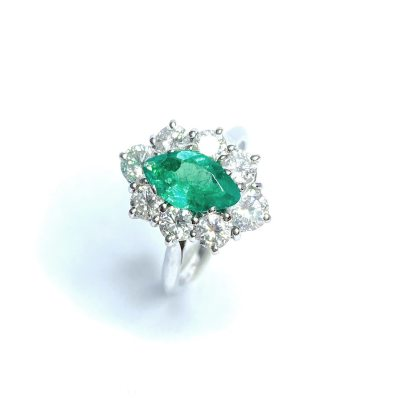 Second Hand 18ct White Gold Emerald & Diamond Ring