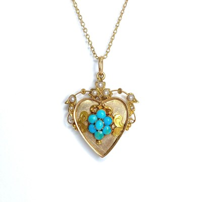 Second Hand 15ct Yellow Gold Turqouise & Pearl Pendant