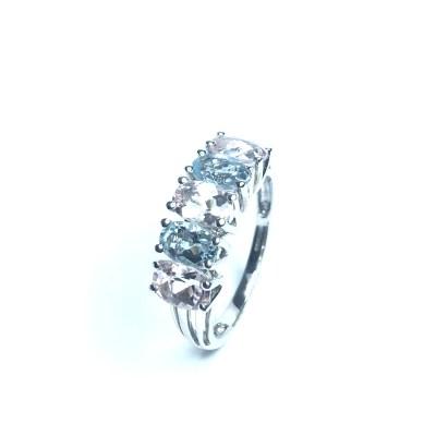Second Hand 9ct White Gold Quartz 5 Stone Ring