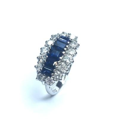 Second Hand 18ct White Gold Sapphire & Diamond Ring