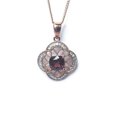 9ct Rose Gold Garnet And Diamond Pendant
