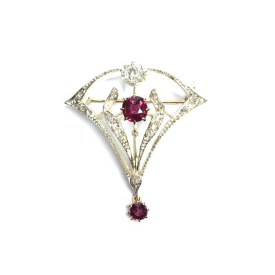 Second Hand 9ct Yellow Gold & Silver Fine Ruby & Diamond Brooch