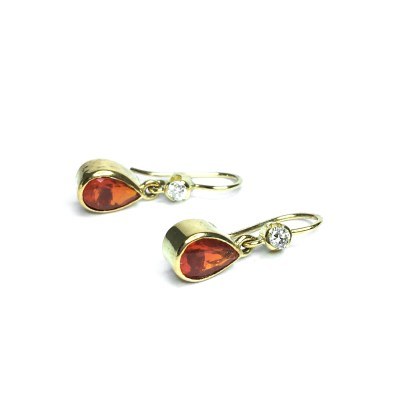 Second Hand 18ct Yellow Gold Fire Opal & Diamond Earrings