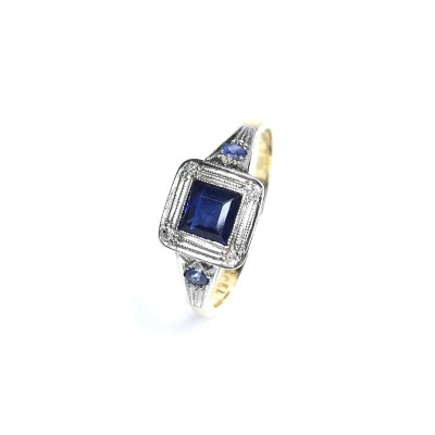 Second Hand 18ct Yellow And White Gold Sapphire Ring