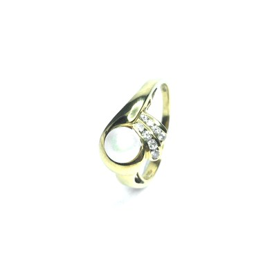 Second Hand 18ct Yellow Gold Pearl & Diamond Ring