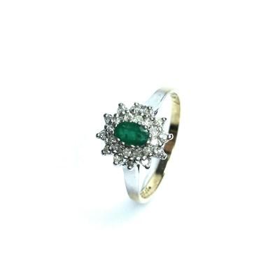 Second Hand 9ct White Gold Emerald & Diamond Ring