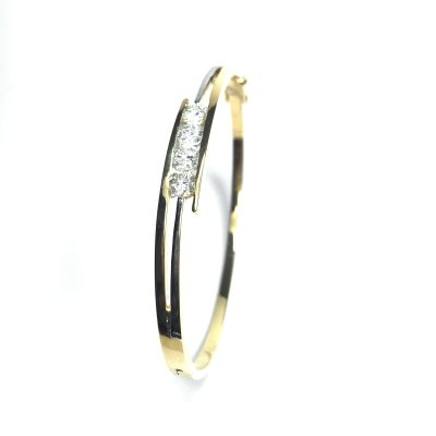 Second Hand 18ct Yellow Gold Diamond Bangle