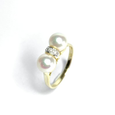 Second Hand 14ct Yellow Gold Pearl & Diamond Ring