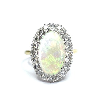 Second Hand 18ct Yellow Gold Opal & Diamond Ring