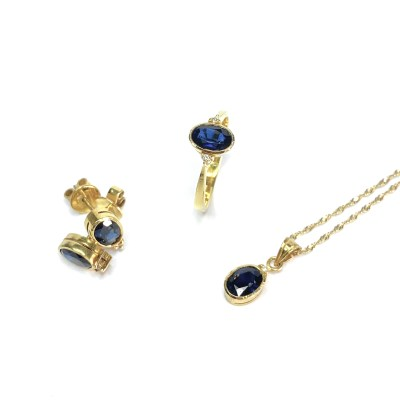Second Hand 18ct Yellow Gold Sapphire Ring, Earrings And Pendant Set