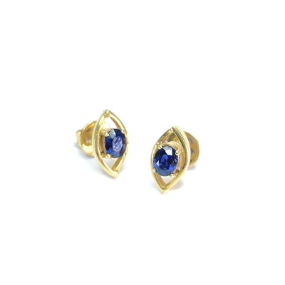 Second Hand 18ct Yellow Gold Sapphire Earrings