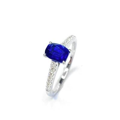 18ct White Gold Sapphire & Diamond Ring