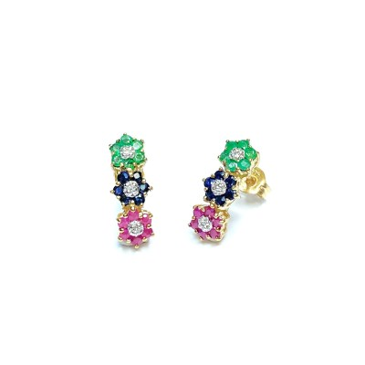 Second Hand 9ct Yellow Gold Ruby, Sapphire & Emerald Earrings