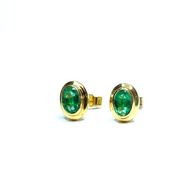 Second Hand 18ct Yellow Gold Emerald Earrings