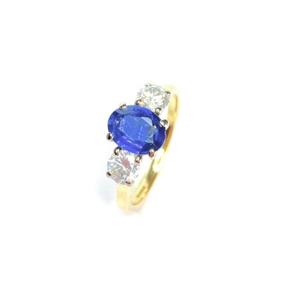 Second Hand 18ct Yellow Gold Sapphire & Diamond Ring